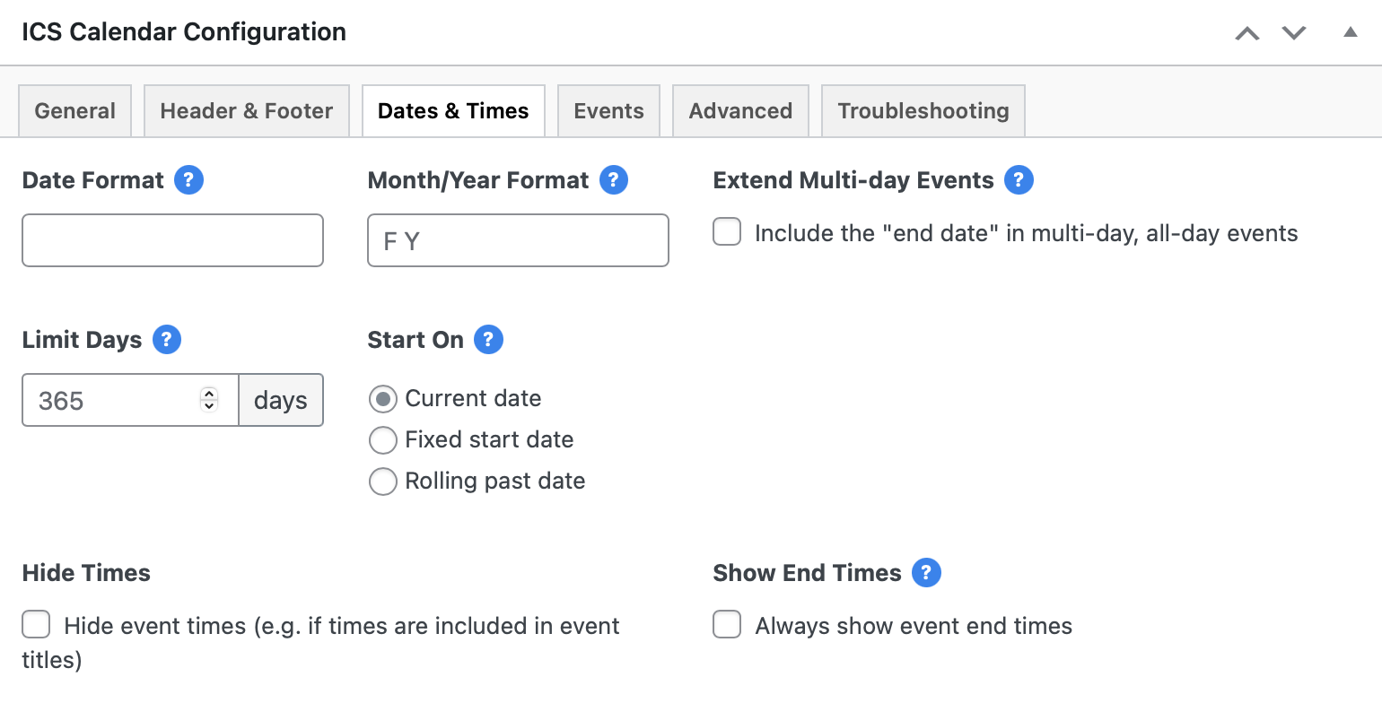 The Dates & Times tab