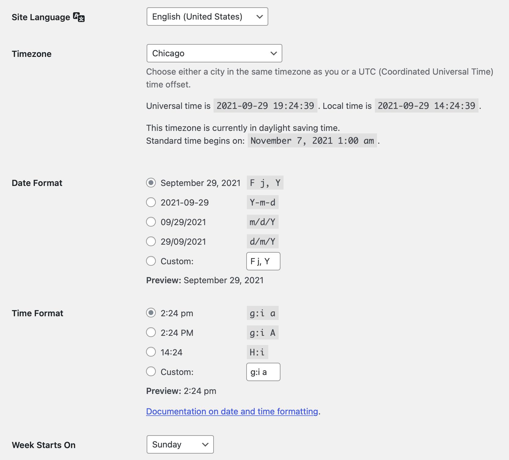 WordPress general settings