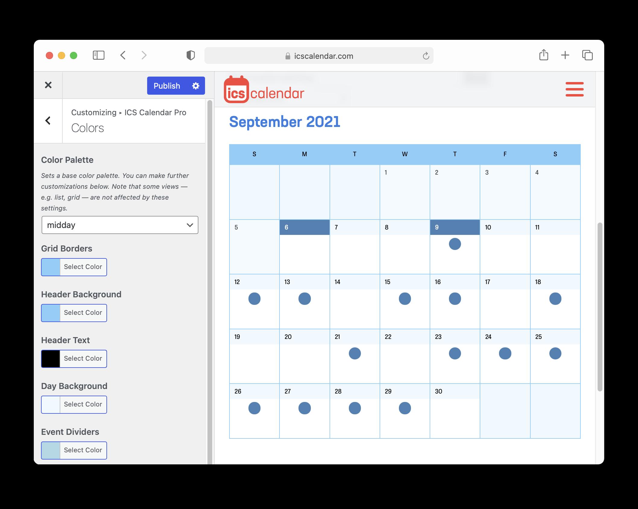 ICS Calendar Pro Customizer screenshot